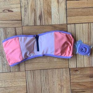 Aerie Zipper Detail Bandeau Bikini Top